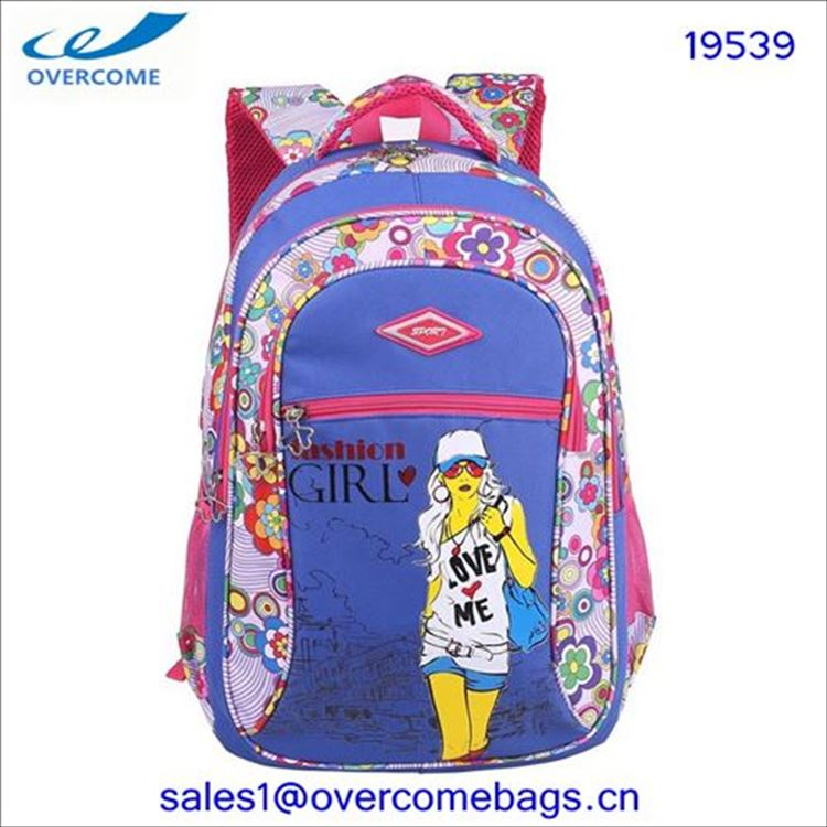 best selling latest design polyester zipped pockets girls school backpack book bag