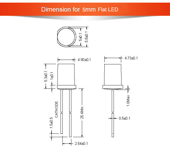 5mm Flat LED light-emitting Diode
