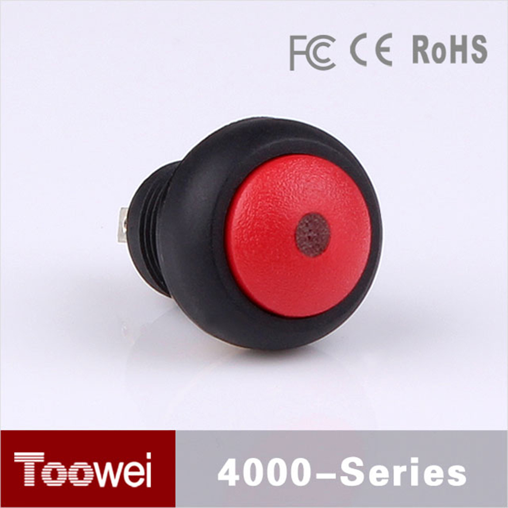 Toowei illumination push button switch 12mm mini Red waterproof pushbutton switch for car