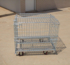collapsible wire mesh cage wheels with lid