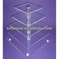 5 Tier Rectangle Clear Acrylic cupcake and cake tower display square stand for retail store and Supermarket Cakes Showcase