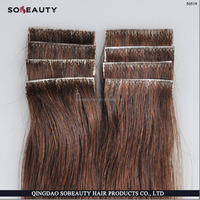 100% hand tied virgin remy PU skin weft tape hair extension