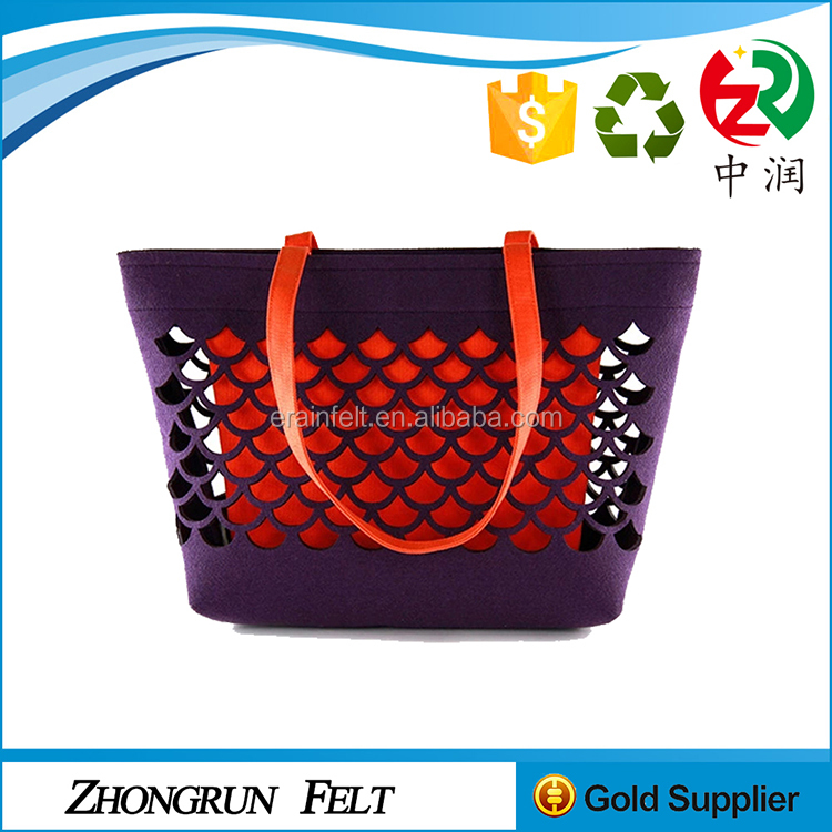 China Factory Fabric Foldable Tote Bag Non Woven Felt Shopping Bag With Leather Handle