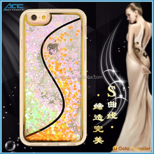 2016 hot selling S style liquid glitter case for mobile phone