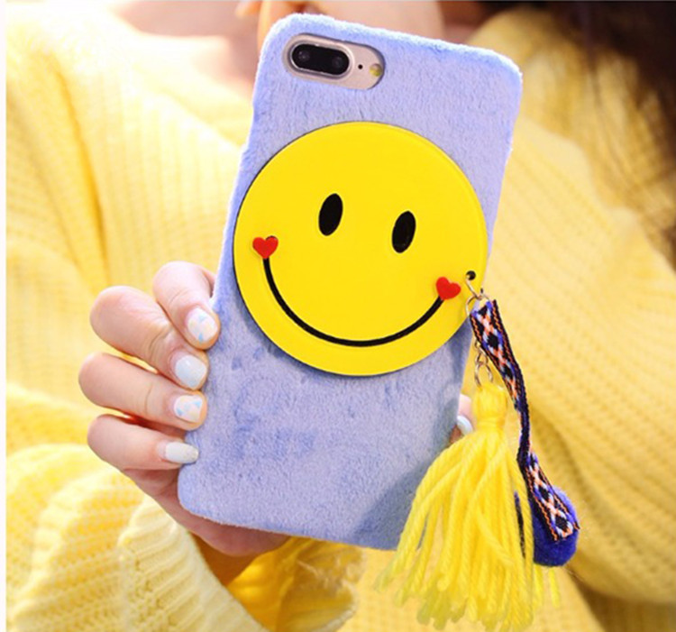 Popular 3D Cute Cartoon Smiling Face Mobile Phone Case With Tassel for Iphone7plus Colorful Balls fur Tassels flannelette