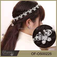 Head Band Supplier Cute Crystal Flower Lace With Butterfly Hair Accessories Cheap Metal Wedding Bridal Hair Bands