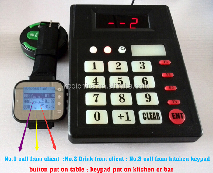 Restaurant equipment Wireless cooker call waiter system to collect food K-999+K-300plus
