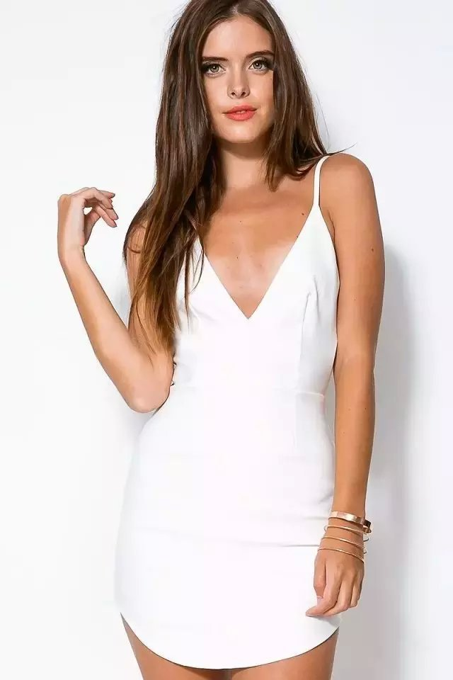 Get Quotations · 2015 summer style women mini dress strap Deep V-neck solid  backless sexy white chiffon d1623a2e9423