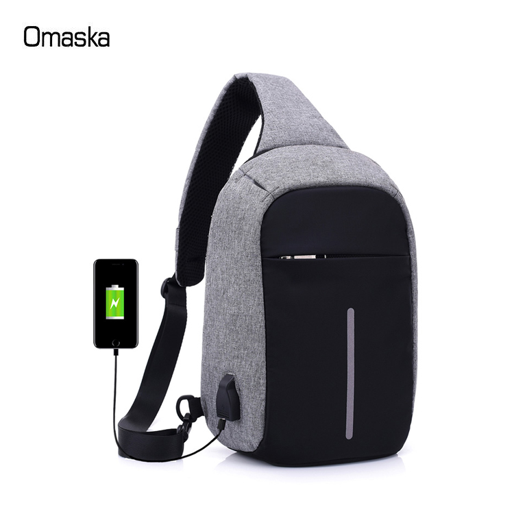 New Fashion Waterproof Nylon Casual Anti Theft USB Charging Reflective Men Women Sling Crossbody Shoulder Chest <strong>Bag</strong>