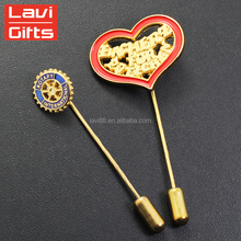Wholesale Cheap Custom Metal Gold Soft Enamel Long Needle Lapel Pin