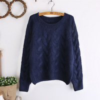 Ladies sweater sets loose autumn winter long upset South Korea college students in the wind