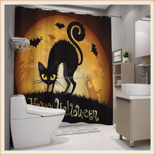 Happy Halloween digital printing custom shower curtain cat