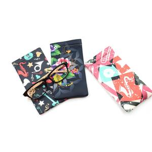 HD colorful pattern transfer printing shrapnel pu leather glasses open pouch