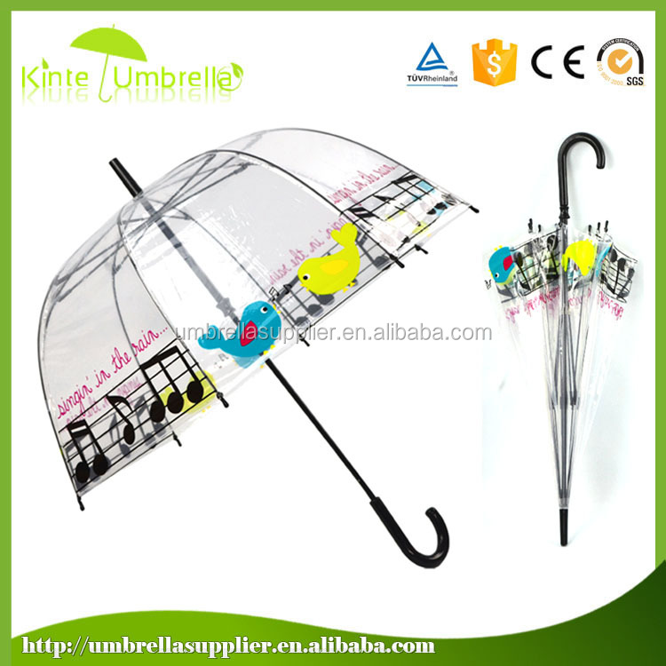 Full color Bowknot Full Body printing Girl kid transparent plastic umbrella