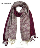 new fashion flower paisley jacquard scarf with tassels