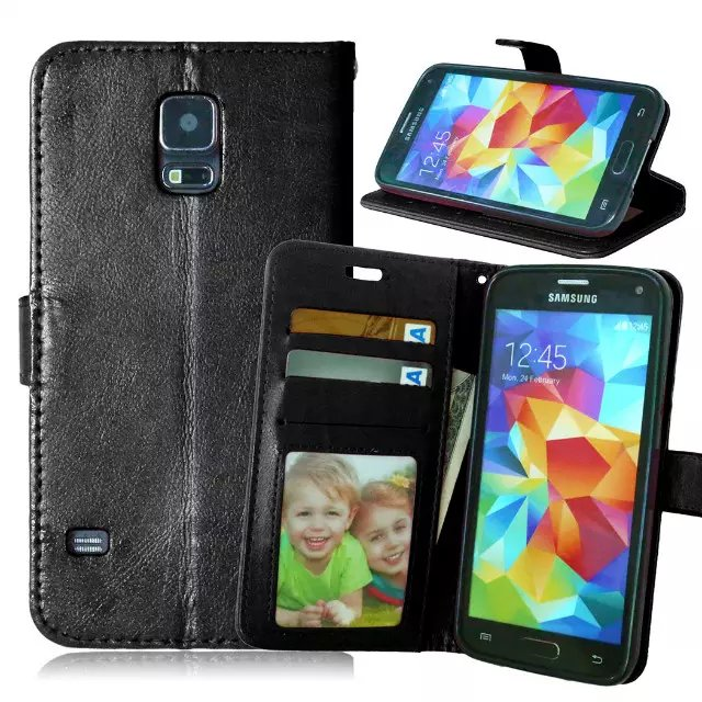 For Samsung Galaxy S5 i9600 Magnetic Flip PU Leather Wallet Case with Photo Frame Card Holder Stand fundas Mobile Phone Cover