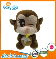 plush china wholesale Children Safe Lovely sitting monkey plush toy