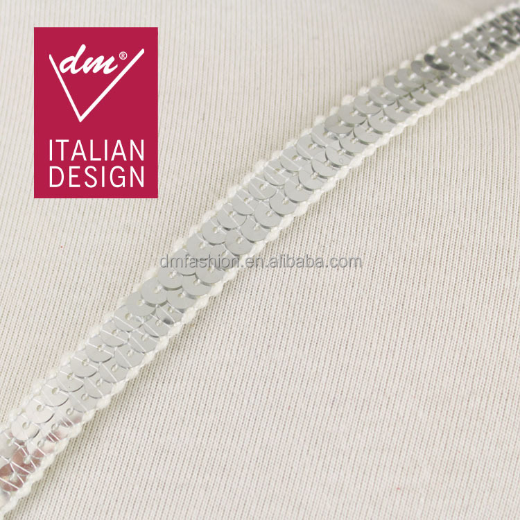 Hot selling products embroidery silver sequin ribbon
