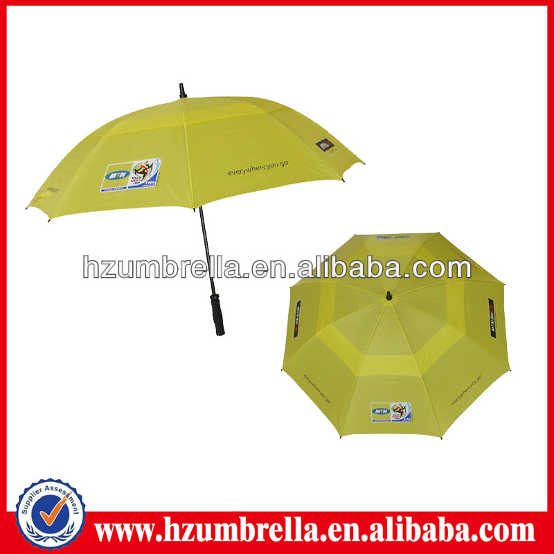 yellow MTN oversize windproof two-tier golf umbrella for sale