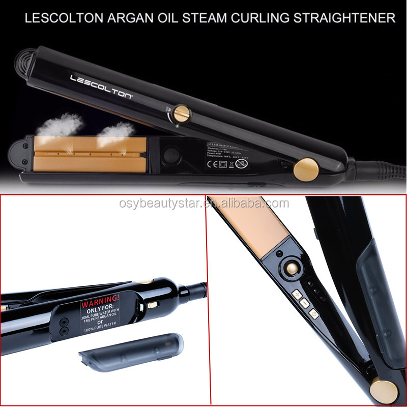Professional Argan Oil Vapor Salon Steam Hair Straightener Flat Iron 450F Ceramic Hair Electric Straightening Irons Black