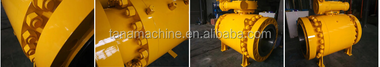 API 6D A105 Flange ends trunnion mounted ball valve with gear operated