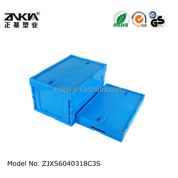 plastic collapsible crate with hinged lid