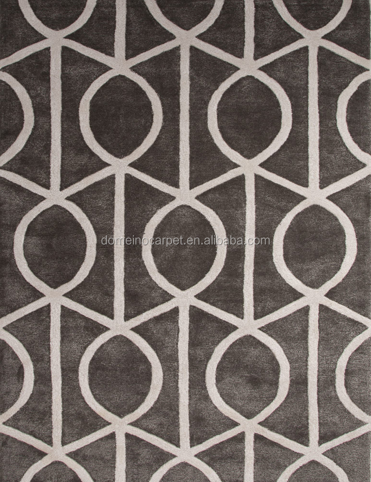 Geometric design customized 100%bamboo silk hand tufted high quality area rug