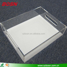 Clear Lucite square acrylic insert paper serving tray with insert
