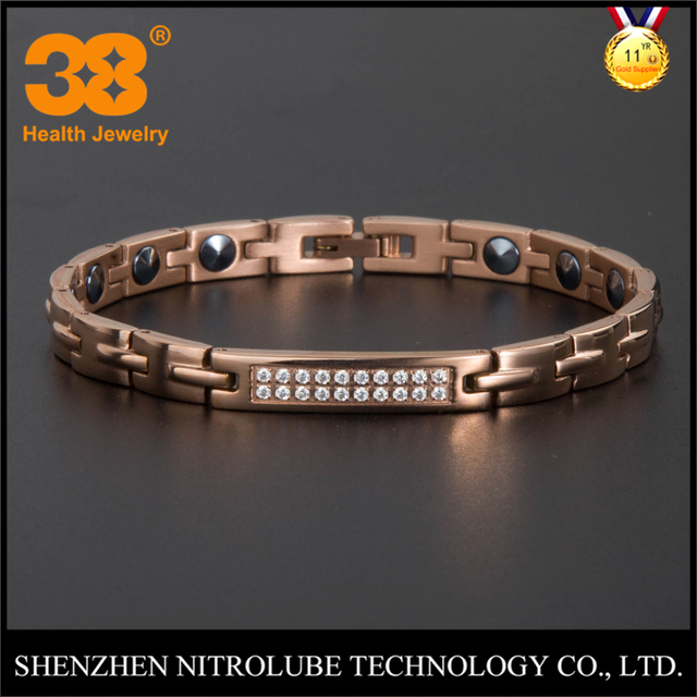 Hot!!! Buy from factory SGS 99.999% germanium titanium women zircon bracelet jewelry health Korea Japan