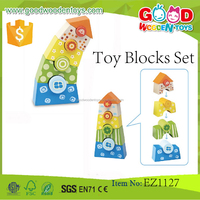 2015 Kids Lovely Tower Stacking Game Wood Toy Blocks Set for sale