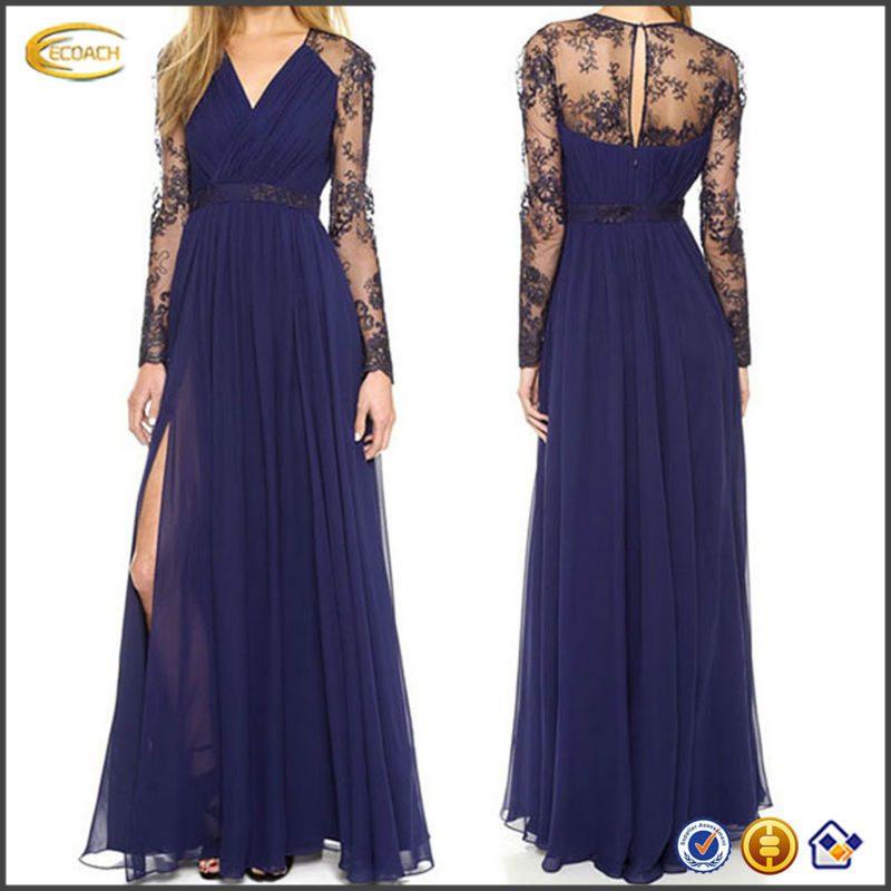 OEM wholesale 2015 Women Long sheer Sleeve high splitting Bodycon Evening Lace Formal maxi floor length Cocktail party Dress