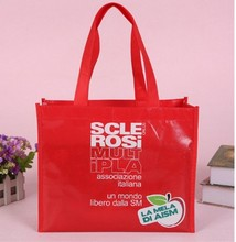 Red lamination waterproof full color printing non woven tote bag