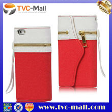Wholesale Zipper Leather Card Wallet Case Cover with Strap for iPhone 5