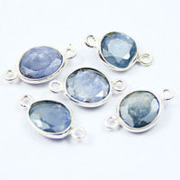13-14mm- Natural Blue Sapphire Oval Cut Gemstone Bezel 925 Sterling Silver Handmade Charms Pendant Finding