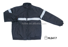 OEM Winter Mens Oxford Black Bomber Jacket With Reflective Tapes