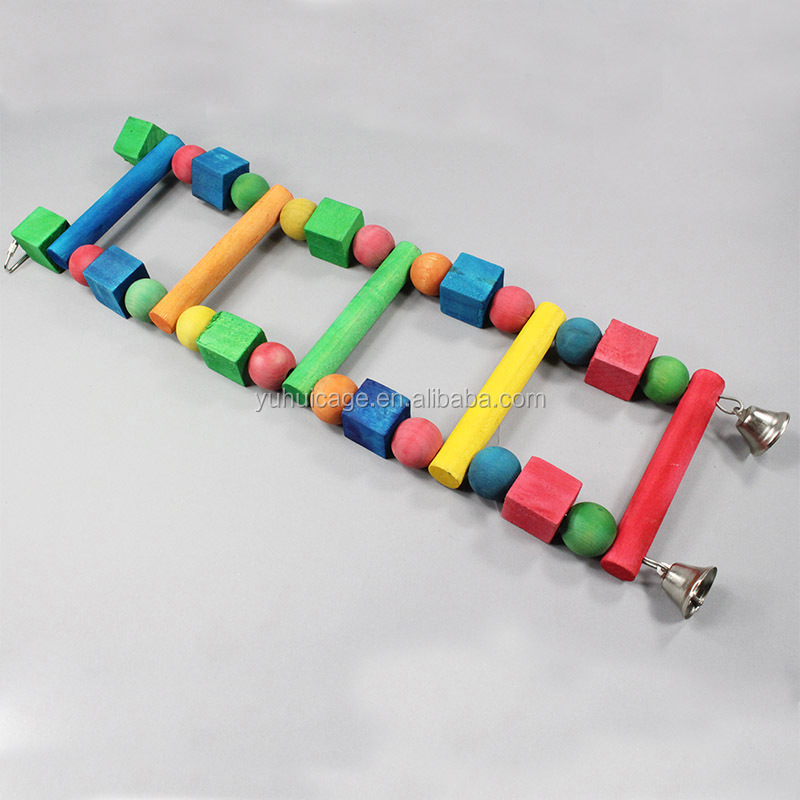 hot sale colorful wooden climbing ladder toys for parrot bird T07