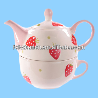 Strawberry ceramic combined teapot cup for one