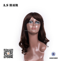 HOT Selling Synthetic Middle Brown Deep Wave Hair Wig Synthetic Full Lace Wigs with Baby Hair