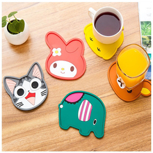 Custom design round cartoon shape soft silicone coaster for drink