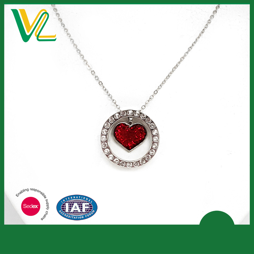 Customized Fashionable Die casting Glitter Nickel Crystal Heart Bead 3D Sterling silver Necklace for kid