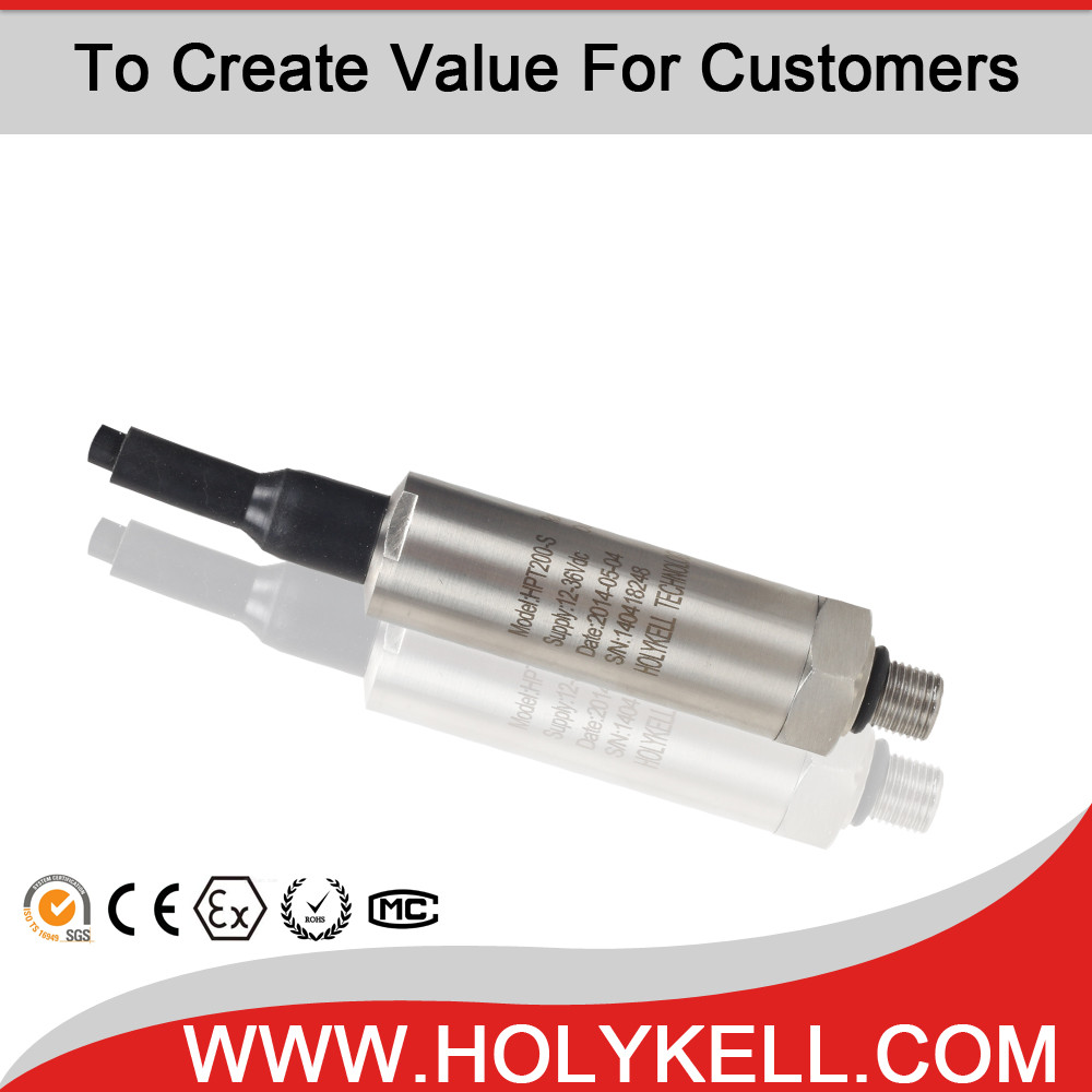 HOLYKELL Pressure transmitter with Universal Industrial 4-20mA output Silcon Oil piezo ceramic sensor