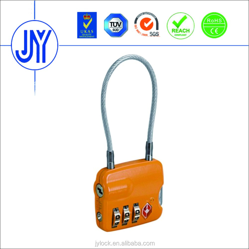 New design Zinc Alloy TSA cable padlock,3 dials lock,luggage lock