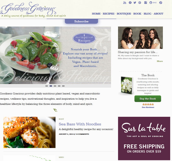 website design nutritious plant based, vegan and macrobiotic recipes, wellness tips, motivational thoughts