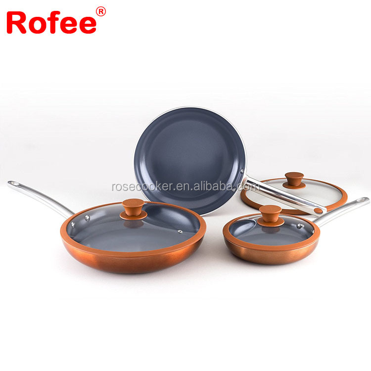 Oms cookware kitchen pan copper round korea king pan parag set for kitchen cooking
