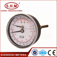 Black steel pressure and thermometer gauge