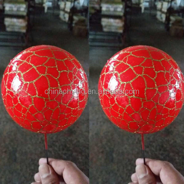 Artificial foam Chrismtas balls decoration with glitter pattern