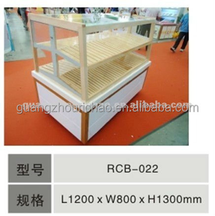 Supermarket wooden Display Stand Wooden bakery display rack
