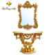 European retro furniture gold leaf small console table dressing table with mirror