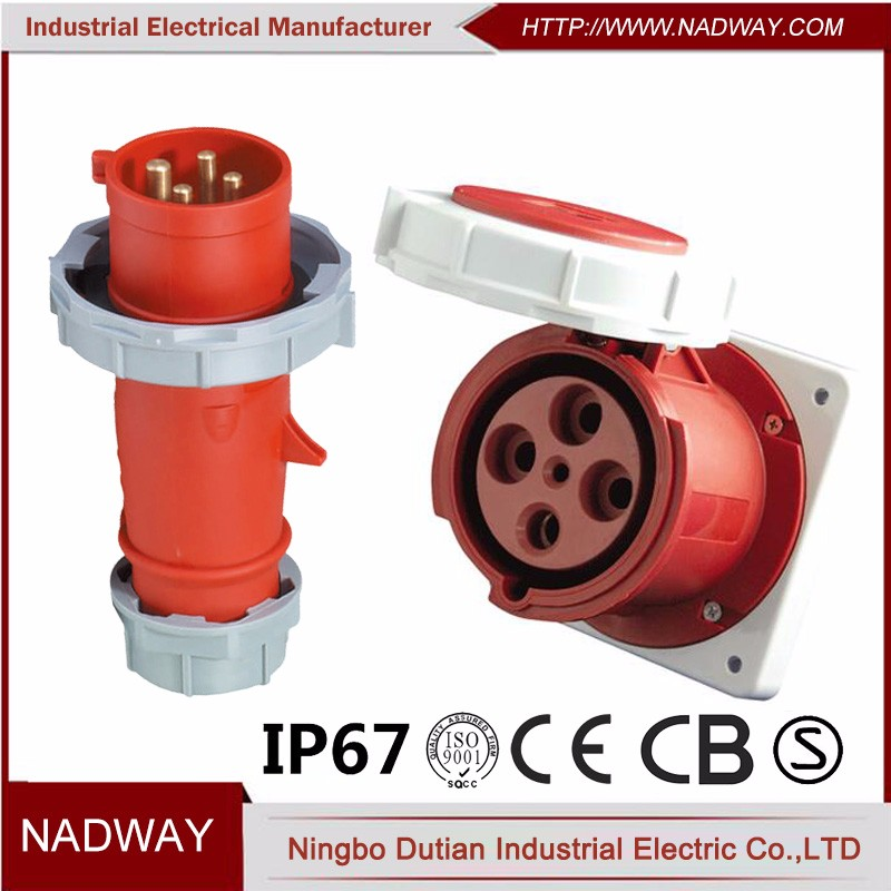 IP67 male and female 380V 63 amp industrial plug & socket