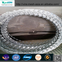 Alibaba !!! 300 mm-1000 mm Hot Dip Galvanized PVC Stainless Steel Razor Barbed Wire 8-15 m/roll for Wall Road Border Military